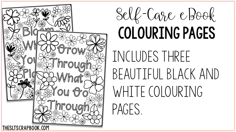 Self-care colouring pages